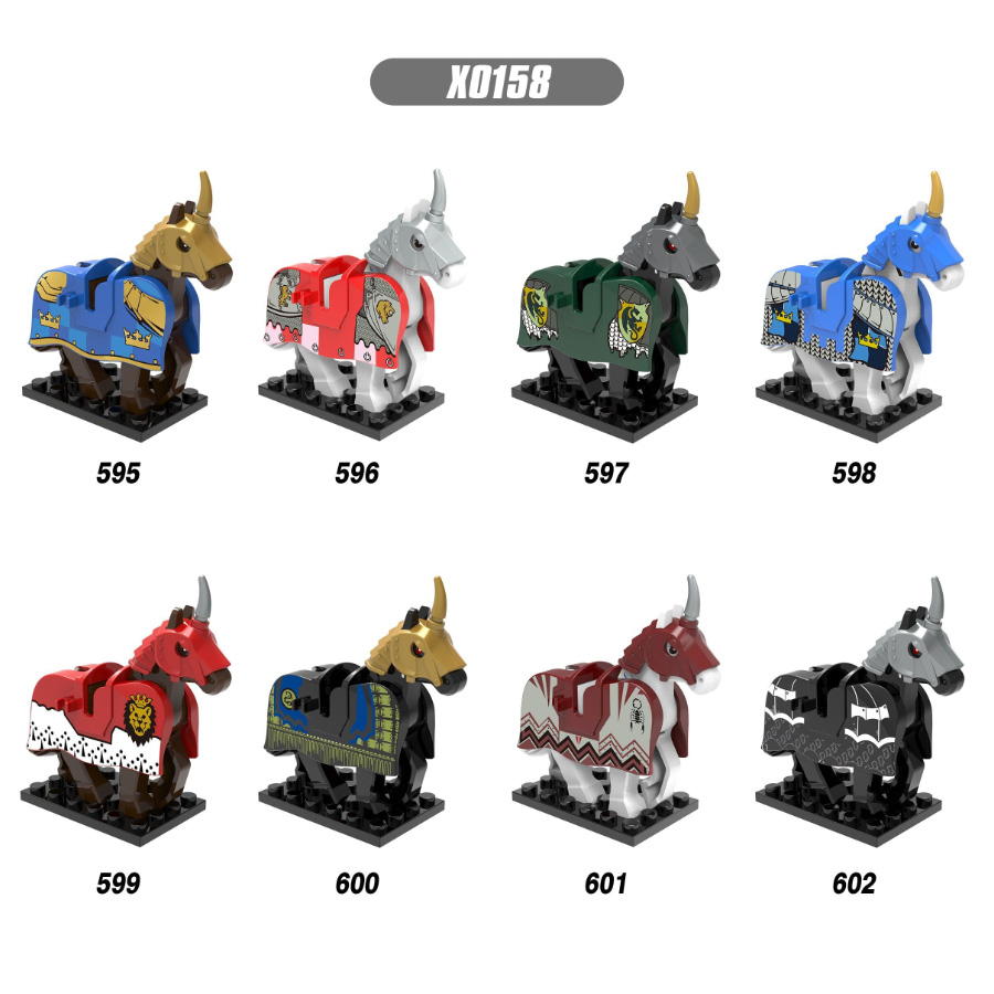 Single Sale Medieval Knight Wars LegoINGly Rome Knights Blue Horse Crown Building Blocks Bricks Toys For Children X0158