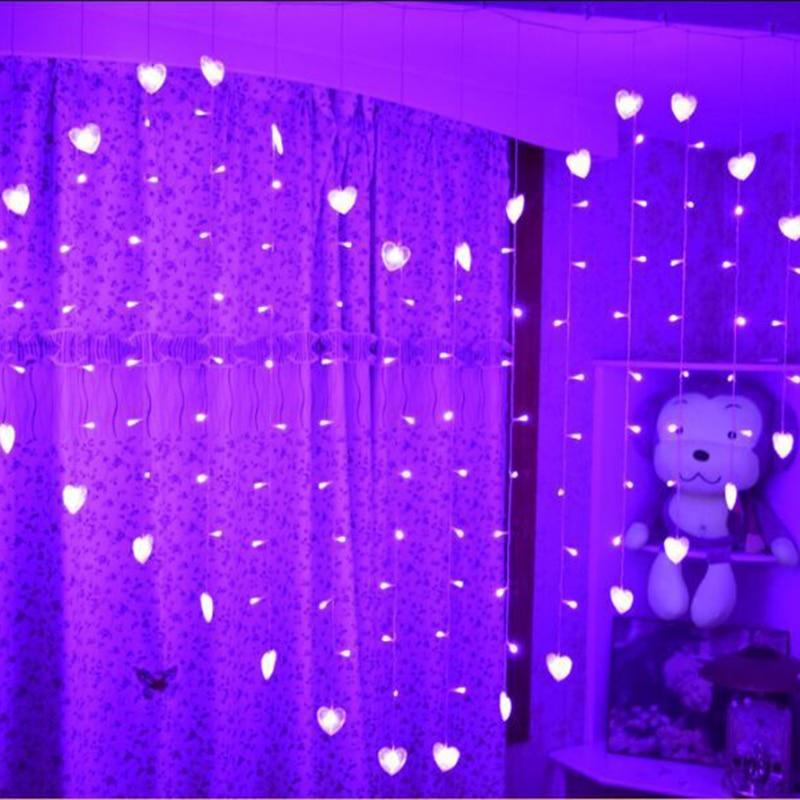 1.5x1.4m Heart Shape LED String Light Holiday Christmas wedding decoration lamp led icicle Curtain lamp EU 220v 128led 34 Hearts
