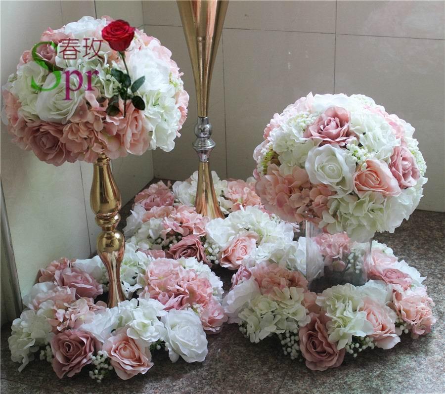 SPR weselne centrum kula z kwiatów ślub ołowiu drogowego sztuczne flore centralny ślub tło dekoracja kwiatowa w Sztuczne i zasuszone kwiaty od Dom i ogród na  Grupa 3