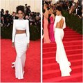 White Satin Vestidos Celebridade Inspirado Por Rihanna Grammys 2016 Gola Alta Manga Longa Aberto Para Trás Em Linha Reta Vestidos No Tapete Vermelho