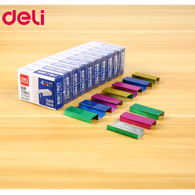 Deli Colored Staples 24/6 2400 Pcs Staples For Stapler Paper Binding Stationary