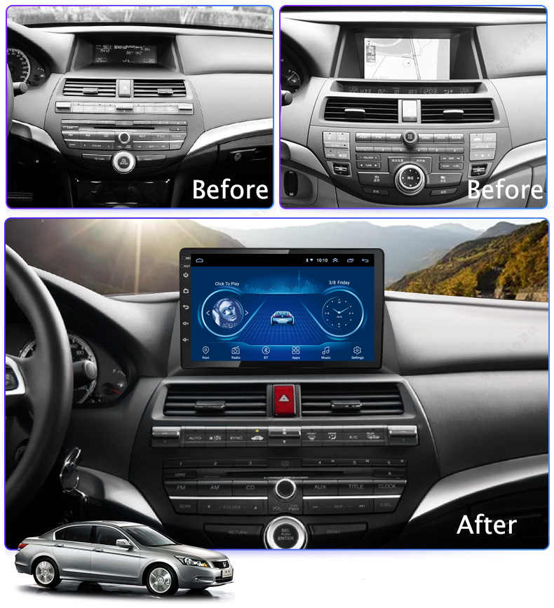 Android 9.1 Auto Radio Super Slim Touch Screen Gps Navigatie Voor Honda Accord 2008-2013 Head Unit Stereo Multimedia bluetooth