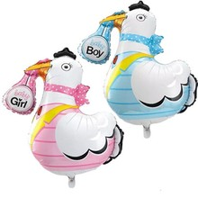 Lovely Baby Shower Balloons Crane Baby Boy Baby Girl 100 Days Birthday Party Decorations Helium Foil Balloons Kids Toys Large