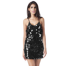 2017 Dress Women Backless Deep V-neck Sequin Sundress Luxury Slip Sexy Club Dresses Party Dress Plus Size XXL Vestido