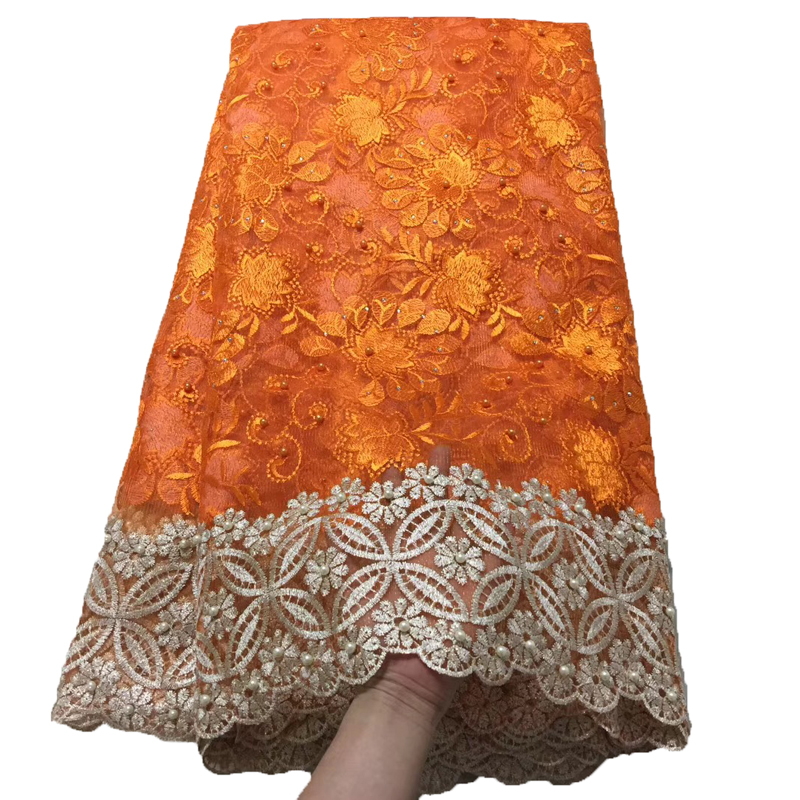 New Beaded African Fabric Lace Orange/Gold High Quality French Lace 5 Yards Nigerian Fabric French Tulle Material Lace X1532