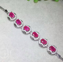 natural red ruby stone Bracelet Natural gemstone bracelet 925 sterling silver fashion Elegant round women wedding jewelry