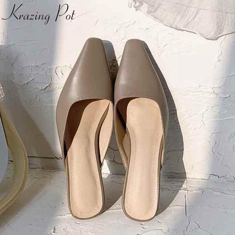 Krazing Pot full grain leather brand mules basic clothing slip on square toe European design gladiator