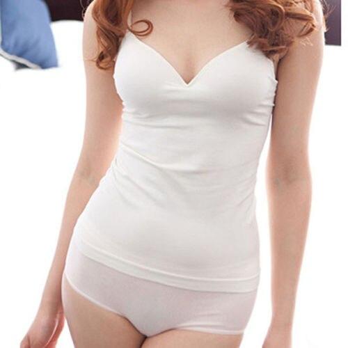 Women Padded Bra Spaghetti Strap V Neck Vest Solid Camis   Tank     Tops   Shirt Casual Blouse