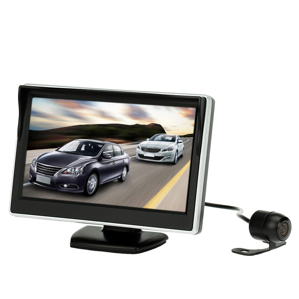 5 Inch TFT LCD Display Monitor Car Rear View Backup Reverse System + HD Parking Camera 4 way input 7 inch tft lcd screen car monitor rear view display for rearview reverse backup camera car tv display for truck