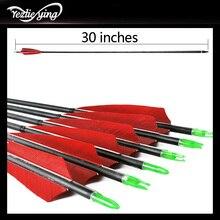 6PCS Balestra Da Caccia 30 Pollici Spine500 Freccia di Carbonio Rosso Turco Vero Piume per la Caccia arco Ricurvo Tiro Con Larco