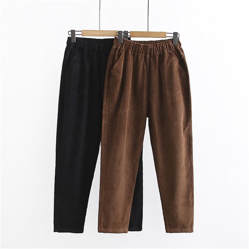 Fashion Large Size 4XL Corduroy Pants Women Autumn Winter Elastic Waist Trousers Female Solid Color Casual Straight Pants G118