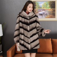 2019 Autumn And Winter Fashion New Suede Mink Fur Coat quilt Imitation Suede Coat Mink Long Hooded Women's Clothing H00572