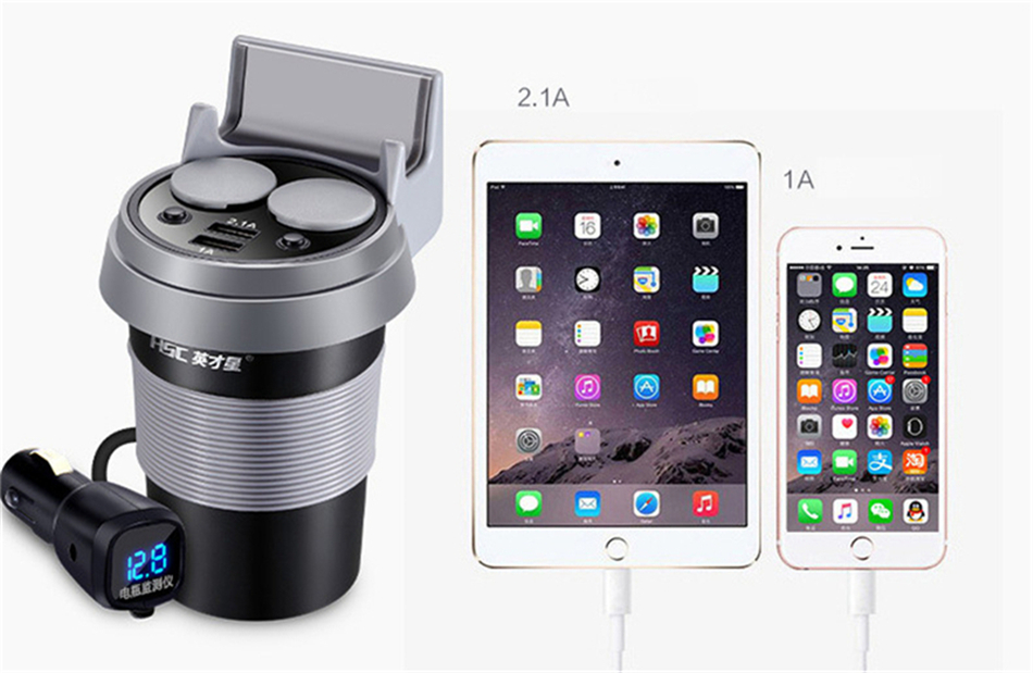 Brand HSC 12-24V 3.1A high speed Output USB Car Charger  Quick Charge Car Cup Holder Car Cigarette Lighter Socket Adapter (11)