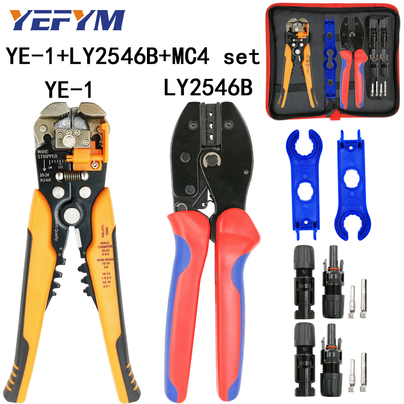 LY-2546B Crimping Pliers 2.5/4/6mm2 14-10AWG  MC4 Pv Cable Connector For Solar Male Female Kit YE-1 Wire Stripping Cutting Tools