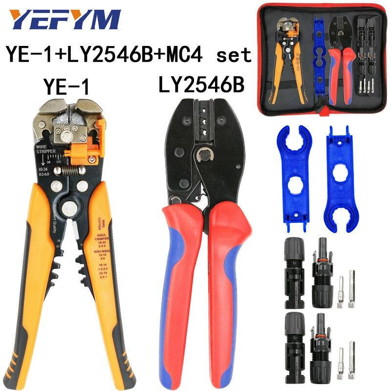 LY-2546B crimpen zangen 2,5/4/6mm2 14-10AWG MC4 pv kabel stecker für solar männlich-weibliche kit YE-1 draht abisolieren schneiden werkzeuge