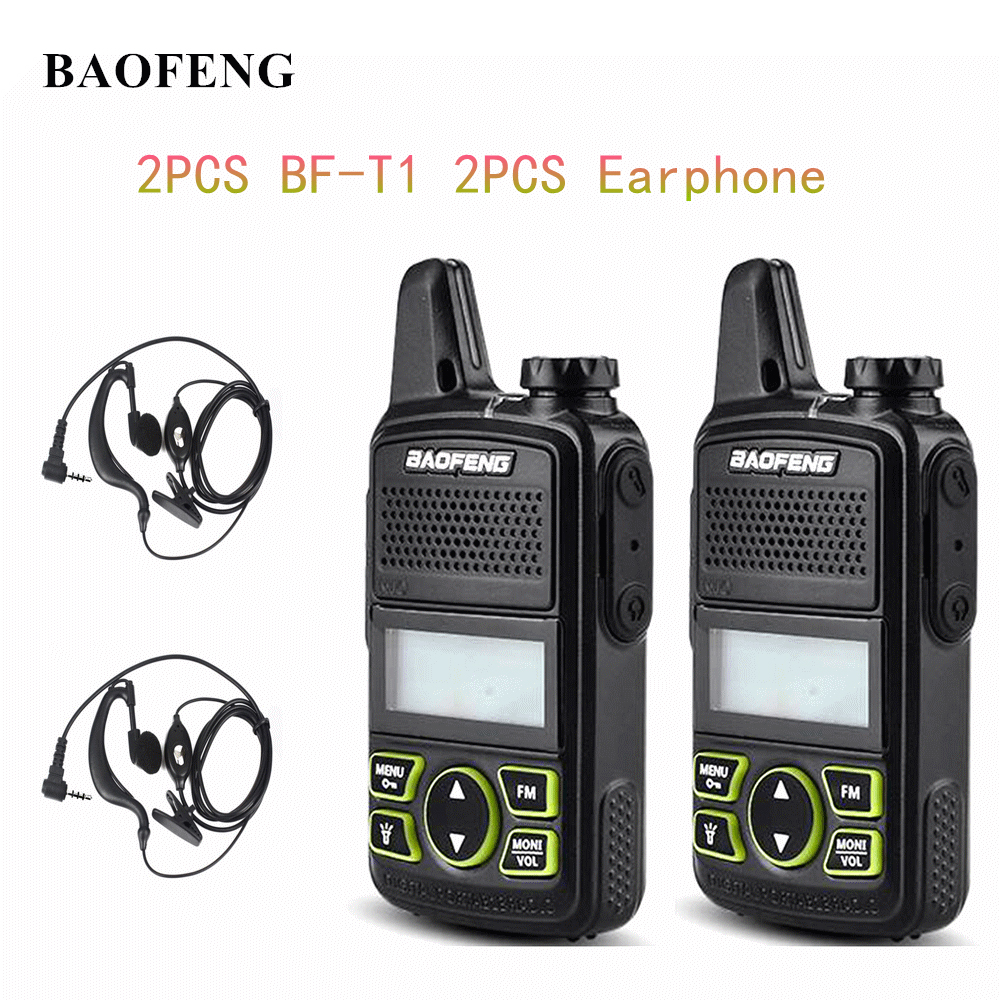 2 pcs baofeng BF-T1 mini portátil rádio em dois sentidos bft1 uhf 400-470 mhz 20ch ham fm transceptor walkie talkie com fone de ouvido