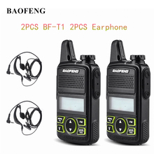 2PCS Baofeng BF T1 Mini Portable two way Radio BFT1 UHF 400 470MHz 20CH Ham FM Transceiver Walkie Talkie with Earpiece