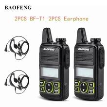 Walkie baofeng mini portátil bft1 uhf, rádio com transmissor fm, 2 peças, BF T1 400 mhz 20ch ham talkie com fone de ouvido