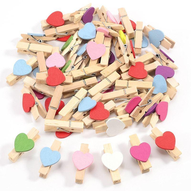 50pcs Mixed Colours Mini Wooden Peg Photo Paper Peg Craft Clips