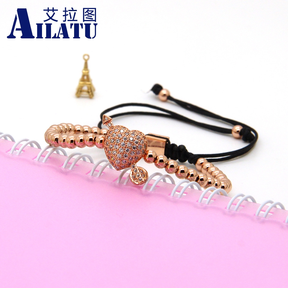 Image 5 - Ailatu CZ Arrow Through Love Heart Bracelet Clear Cz Beads and 