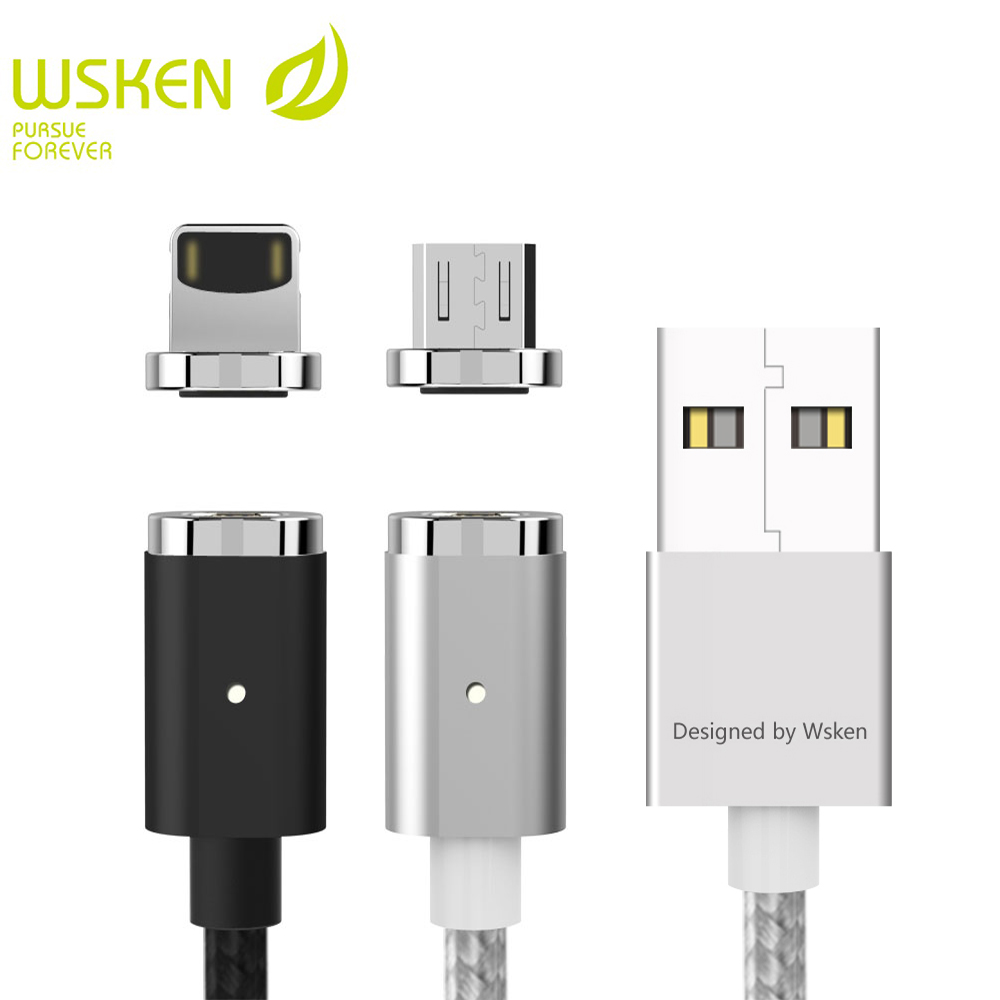 WSKEN Mini 2 Magnetic Micro USB Cable For Samsung S7 Micro USB Devices Magnetic Charger Mobile Phone Cables For iphone USB cable
