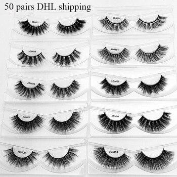 50pcs/lot DHL Mink Eyelashes 50 Pairs natural long 3d lashes hand made false eyelashes full strip lashes mink 3d lashes
