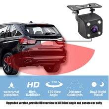 4 luces LED cámara de Vista trasera de coche HD cámara de coche trasera IP68 cámara de marcha atrás de coche impermeable cámara de aparcamiento de vehículo