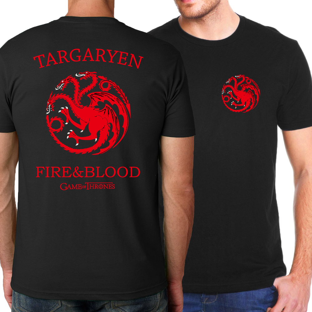 Targaryen Fire & Blood Men T shirt Game of Thrones T-Shirts For Men 2019 Summer Casual Fashion Men Hipster Tees Hipster S-XXXL