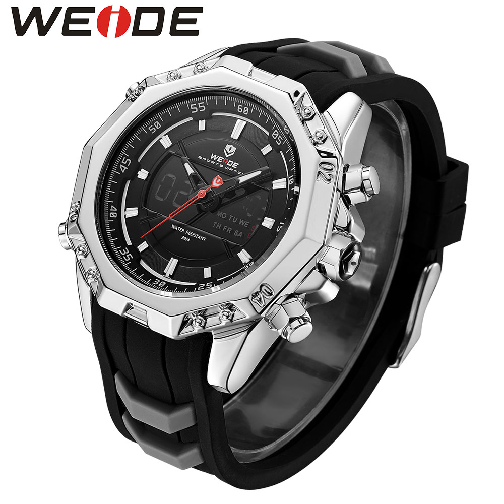 WEIDE Mens Quartz Watches Top Brand Luxury Alarm Clock Schocker Waterproof  Sport Wristwatch Analog Digital Automatic Watch Box