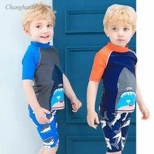 New Model Kid Boys Two Pieces Swimwear 4-14 T Baby Boy Blue Orange Shark Swimsuit Children Swimming Wear Swim Suit Bathing suits