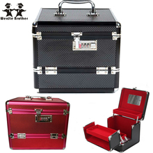 Wenjie brother Professionelle aluminium-legierung bilden Box Make-Up Fall Beauty Kosmetiktasche Multi Tiers Abschließbare Schmuckschatulle