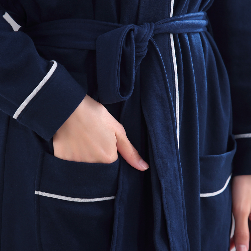 Bathrobe Couple Matching Woman Man 100% Cotton Simple Solid Plus Full Blue  Loose Male Female Lover Spring Autumn Winter Robe New-in Robes from  Underwear ... 1cc5f05db