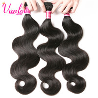 Vanlov Indian Body Wave Wet And Wavy Human Hair Bundles Non Remy Hair Weaving Natural Black