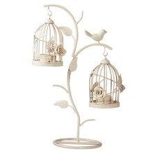 Candelabro de jaula de pájaros de rama Retro europeo, candelabro creativo de hierro, candelabros románticos, artesanías para centros de mesa de boda, decoraciones para el hogar