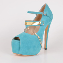 Blue Dress Shoes Peep Toe 16cm High Heel 5cm Platform Suede Women Stiletto High Heel Peep Toe Buckle Chains Summer Shoes Fashion