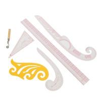 Plastica Multifunzionale Set 5 Stile Su Misura Trasparente Cucito Righello Linea di Classificazione Virgola Curva Francese Misura Accessori di Cucito