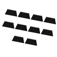 цены 10 Pieces Acoustic Wedge Foam Sound Absorption Panel Noise Dampening Foam Studio Music Equipment 30x30cm