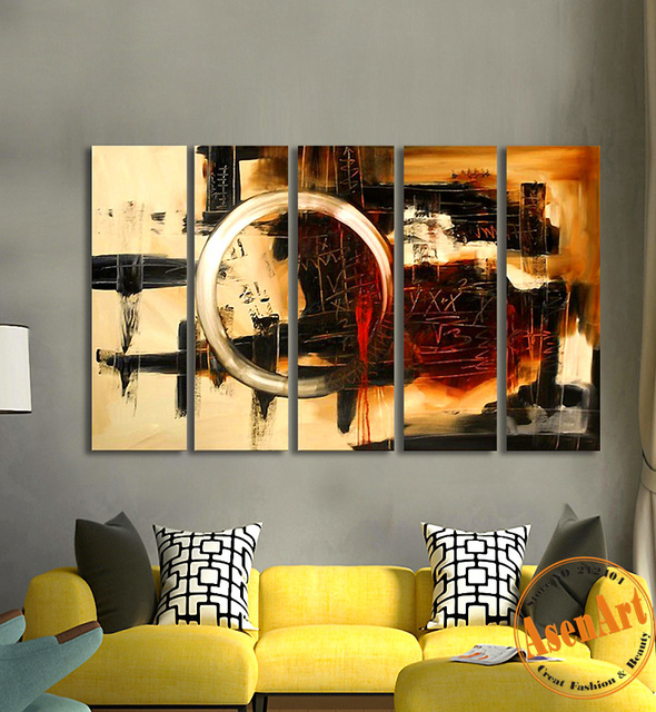 Hand-painted 5pcs Modern Abstract Oil Painting on Canvas Large Golden Circle Wall Painting Wall Decor for Living Room No Frame