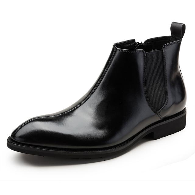 Nova Chegada da Alta Qualidade Da Moda Confortável Couro Genuíno Dedo Apontado Slip-On Primavera/Outono Ankle Boots Sapatas Dos Homens