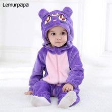 Фиолетовый комбинезон комбинезон с кошкой для младенцев, зимняя одежда, фланелевый удобный костюм кигурумис с капюшоном на молнии, костюм с животными, игровой костюм для маленьких мальчиков и девочек