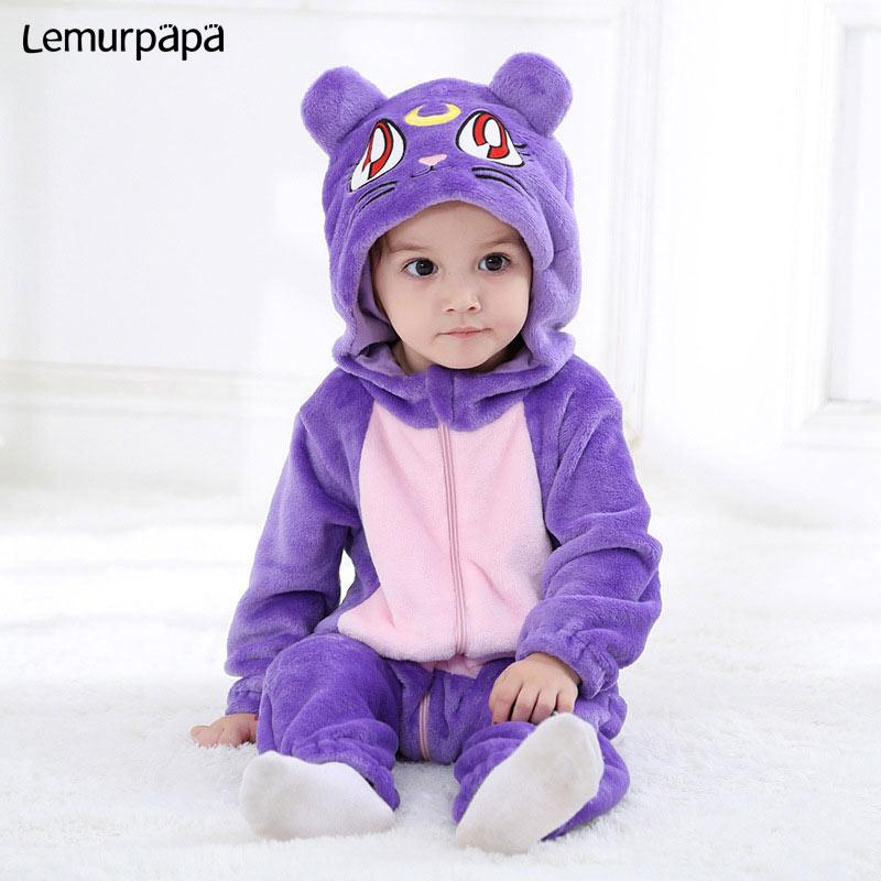 Purple Cat Onesie Infant Baby Romper Winter Clothes Ziper Hooded Flannel Cozy Kigurumis Animal Costume Little Boy Girl Play SuitRompers   -