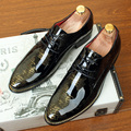 Diseñador de Los Hombres Zapatos de Vestir Negro Sombra Amarillo Charol Punta Redonda de Moda de Lujo Boda Del Novio de Los Hombres de Oxford Qshoes 37-46