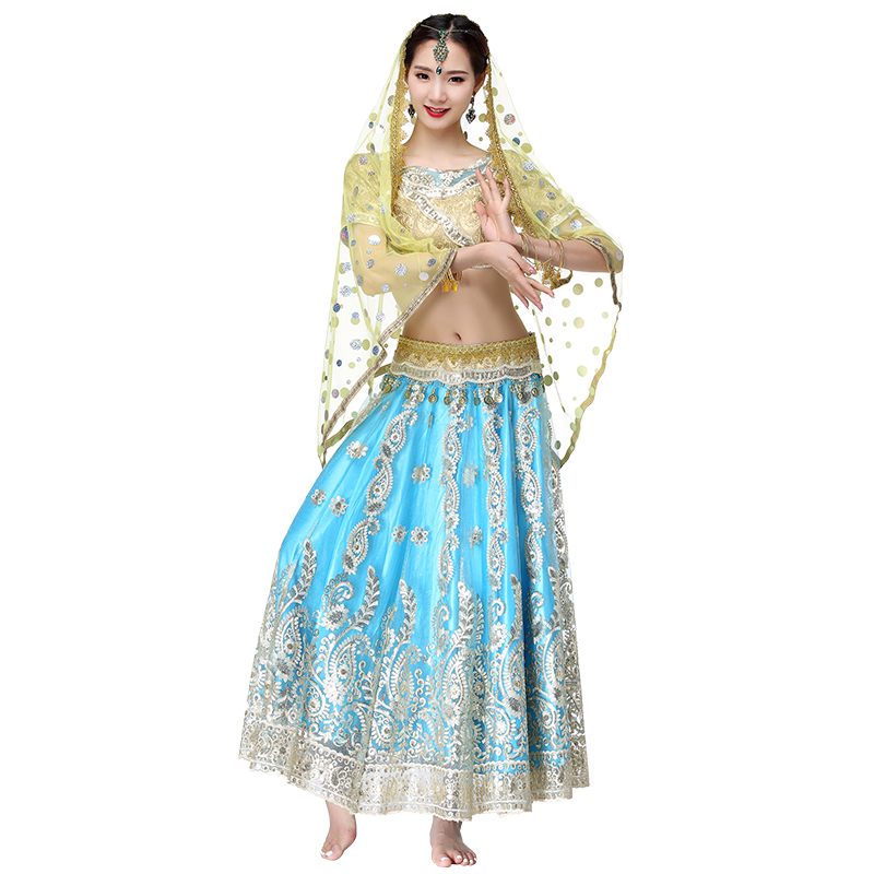 Women Belly Dance Outfits Indian Dance Hand-embroidered Bollywood Costume 4pcs Set (Top+Belt+Skirt+Sari)