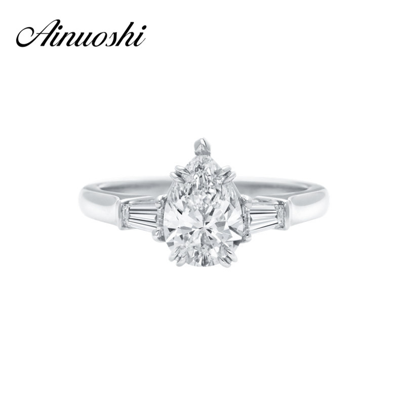 AINOUSHI Promotion Water Drop Engagement Ring Fashionable Bijoux Pear Cut Sona Womens Ring Anniversary Party Wedding Jewelry