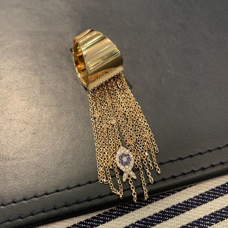 SLJELY marca de lujo Real 925 plata esterlina Color oro amarillo ojo de la suerte pez borla dedo anillo mujer CZ fiesta de moda joyería-in Anillos from Joyería y accesorios    1