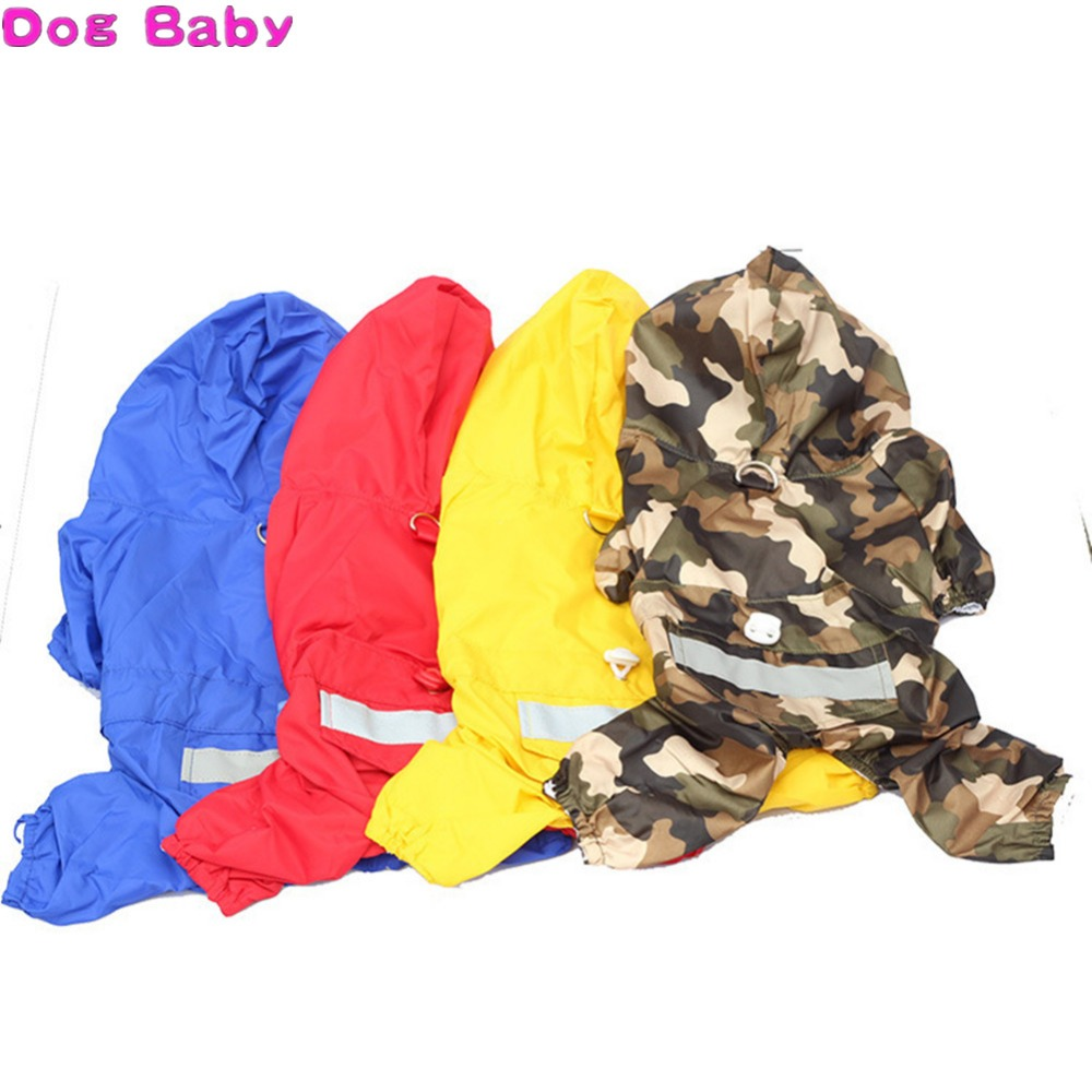 All Season Dog Raincoat Polyester Bule Red Yellow Color Pet Clothes Fashion Raincoat For Dogs Size XS S M L XL XXL High Quality