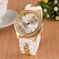Hot ladies quartz watch fashion women's silicone strap bracelet watch luxury brand rose gold crystal drill woman watch