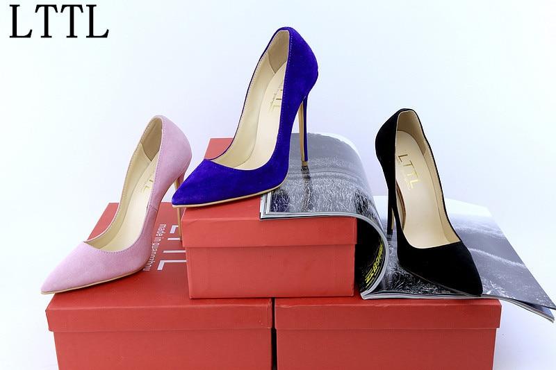 ФОТО LTTL Fashion New Sexy Women 12cm Suede Stilettos Heels Pointed Toe Pumps beautiful Party Dress Black Blue Pink High Heel Shoes