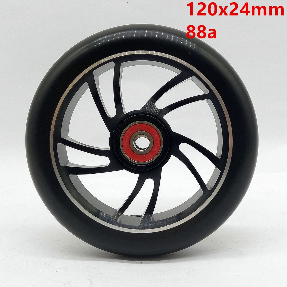 2PCS 120mm Freestyle Stunt Scooter Wheels 88A With High elastic PU Aluminum Alloy Hub ABEC 9