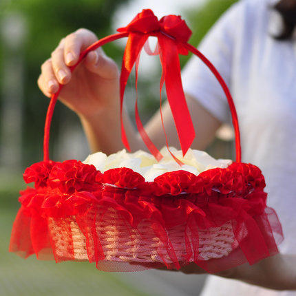 Aliexpress buy 3d red flower decoration flower girl basket for 3d red flower decoration flower girl basket for wedding ceremony favors party decoration supplies mightylinksfo